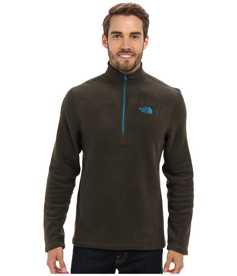 The North Face - TKA 100 Glacier 1/4 Zip (Black Ink Green) Men's Long Sleeve Pullover