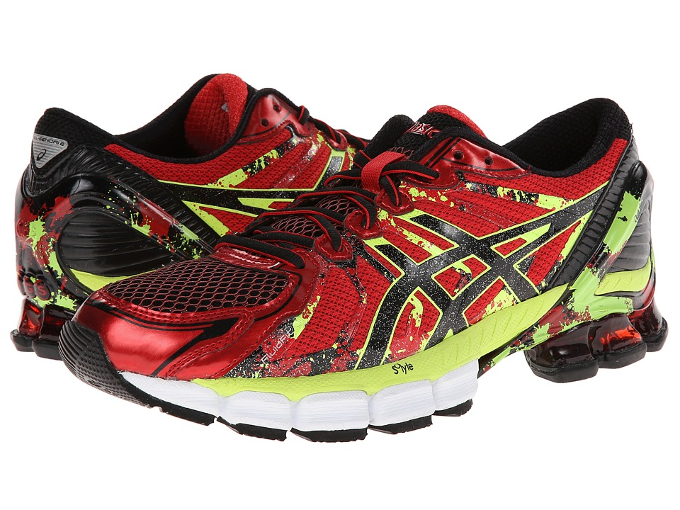 ASICS - GEL-Sendai 2 (High Risk Red/Black/Flash Green) Men's Running Shoes