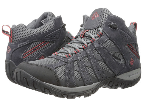 Columbia - Redmond Mid Waterproof (Charcoal/Garnet Red) Men's Shoes