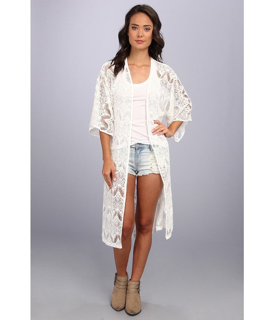 MINKPINK - Dance With Me Kimono (White) Women's Sweater