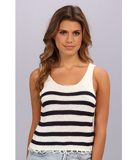 MINKPINK - Next In Line Knitted Tank (White/French Blue) Women's Sleeveless
