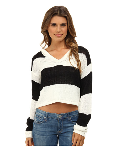 MINKPINK - Never Enough Stripe Knit (Chalk White/Black) Women