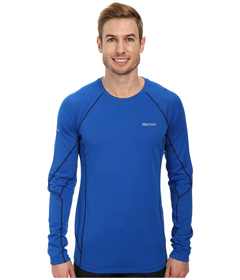 Marmot - ThermalClime Sport LS Crew (Peak Blue) Men's Long Sleeve Pullover