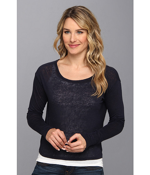 Mod-o-doc - Linen Knit Keyhole Back Tee (Twilight) Women