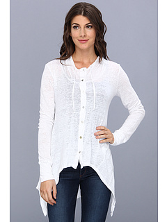 SALE! $64.99 - Save $75 on Mod o doc Linen Knit Button Up Hi Low Hem Hoodie (White) Apparel - 53.58% OFF $140.00
