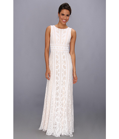 BCBGMAXAZRIA - Kelley Woven Lace Evening Gown (White) Women's Dress