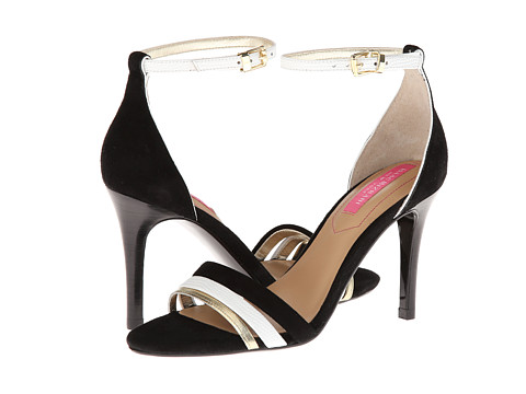 Isaac Mizrahi New York - Positano (Black Suede/White/Gold Suede) High Heels