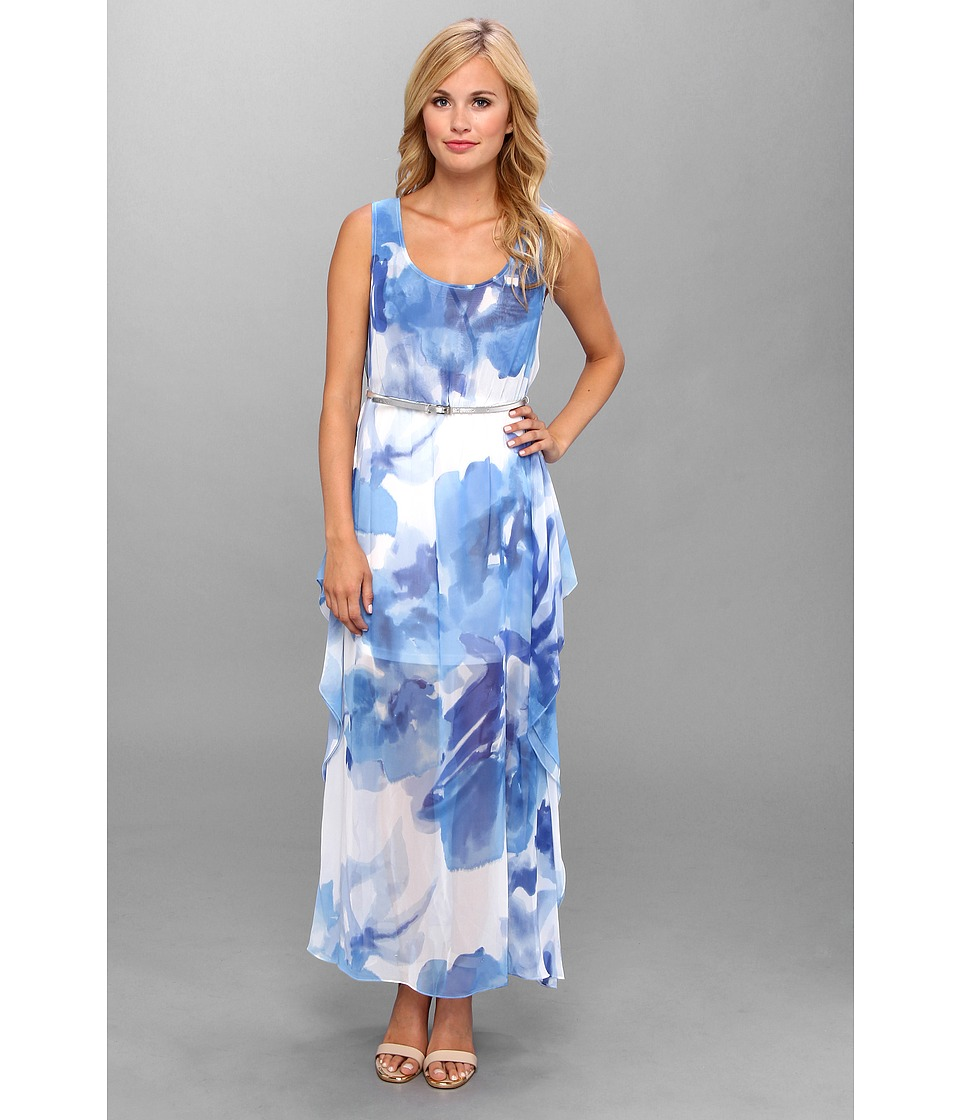 Calvin Klein Printed Chiffon Maxi Dress Womens Dress Blue