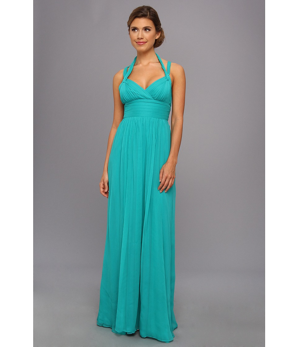 BCBGMAXAZRIA - Kadence Silk Halter Gown (Bright Blue Surf) Women's Dress