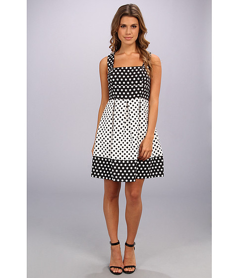 Ivy & Blu Maggy Boutique - Sleeveless Square Neck Contrast Polka Dot Fit Flare (Black/White) Women's Dress