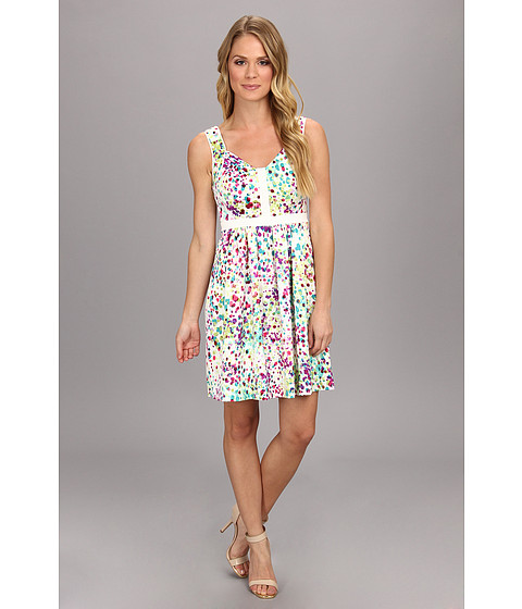 Ivy & Blu Maggy Boutique - Sleeveless Sweetheart Multi Color Dot Print (Deep Turquiose Multi) Women