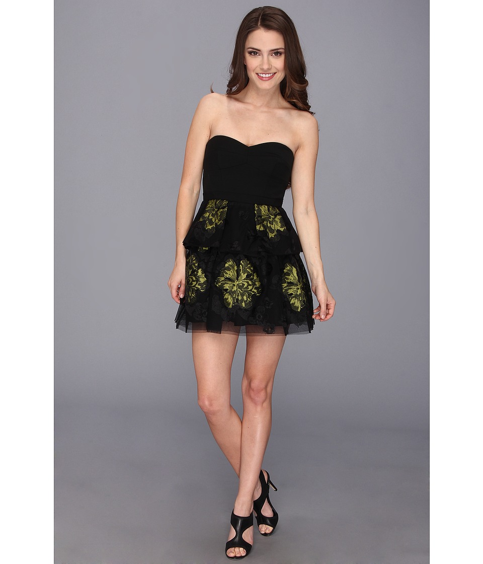 BCBGMAXAZRIA - Petite Tia Embroidered Peplum Dress (Black Combo) Women's Dress