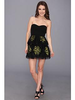 SALE! $254.99 - Save $83 on BCBGMAXAZRIA Petite Tia Embroidered Peplum Dress (Black Combo) Apparel - 24.56% OFF $338.00