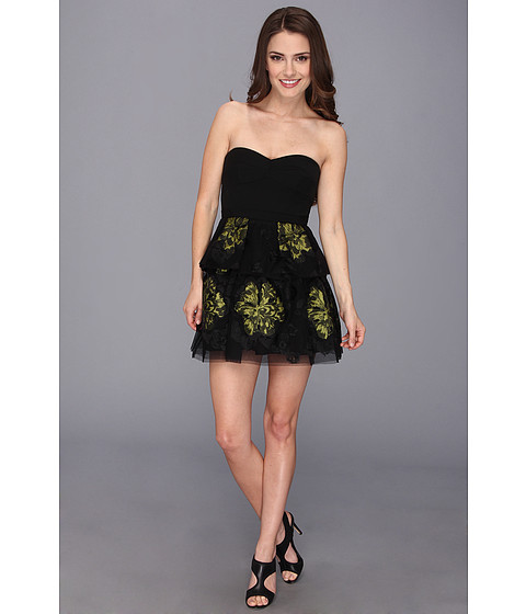 BCBGMAXAZRIA - Petite Tia Embroidered Peplum Dress (Black Combo) Women