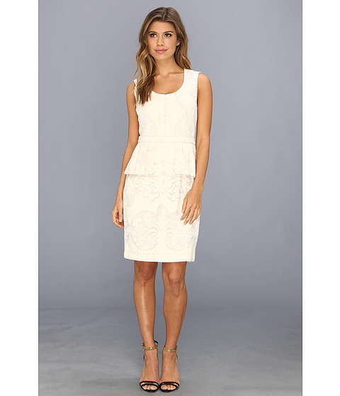 BCBGMAXAZRIA - Etna Lace Peplum Sheath Dress (Light Corozo) Women's Dress