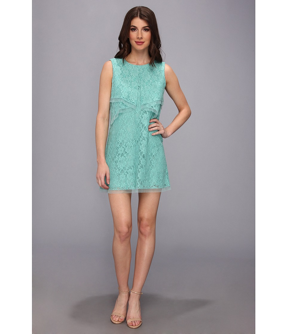 BCBGMAXAZRIA Amelie Sleeveless Lace Drape Dress (Light Aqua) Women