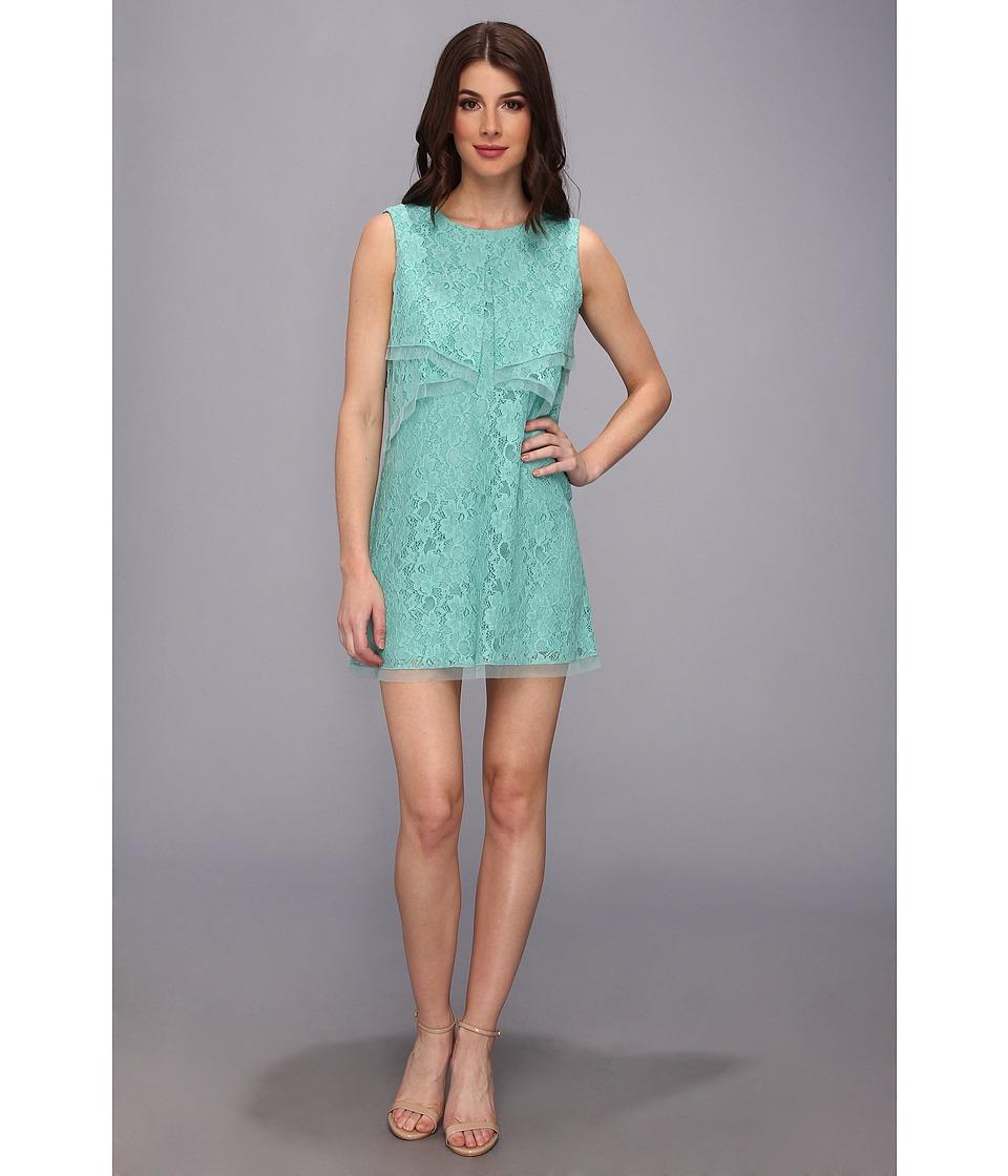 BCBGMAXAZRIA - Amelie Sleeveless Lace Drape Dress (Light Aqua) Women's Dress
