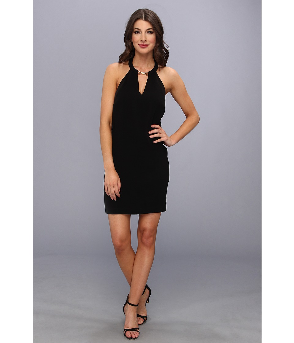 BCBGMAXAZRIA - Kiley Tuxedo Stripe Halter Dress (Black) Women's Dress