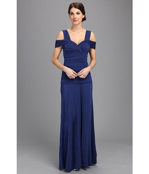 BCBGMAXAZRIA - Nathalie Ruched Bodice Knit Dress (Blue Depths) Women