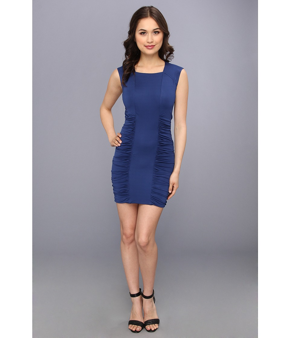 BCBGMAXAZRIA - Renee Side Ruched Dress (Blue Depths) Women's Dress
