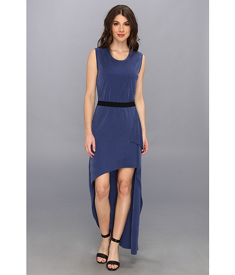 BCBGMAXAZRIA - Evelyn Asymmetric Hem Dress (Blue Depths) Women