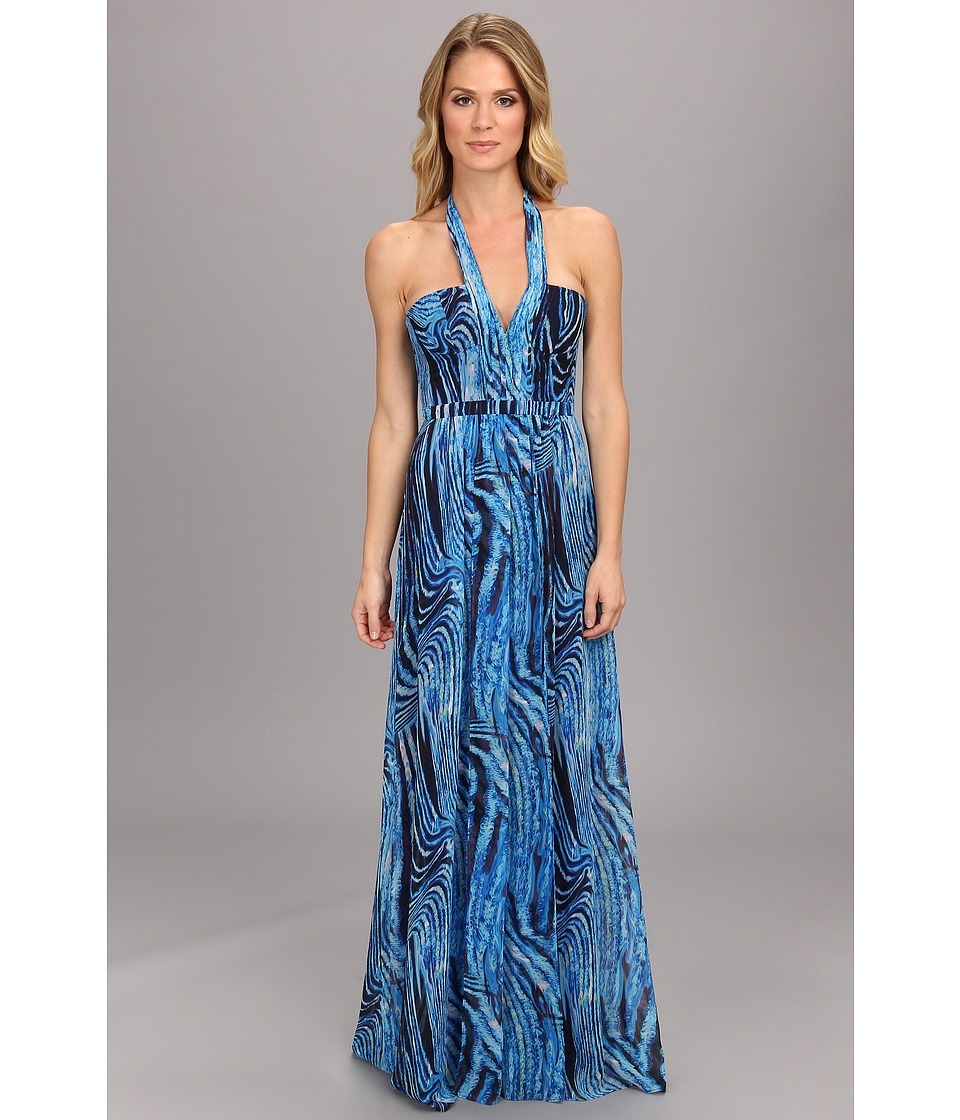 BCBGMAXAZRIA Starr Printed Gown Royal Blue Multi Dress