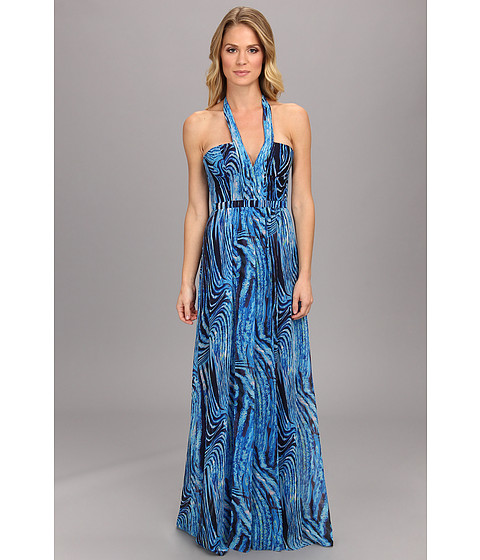 BCBGMAXAZRIA - Starr Printed Gown (Royal Blue Multi) Women's Dress