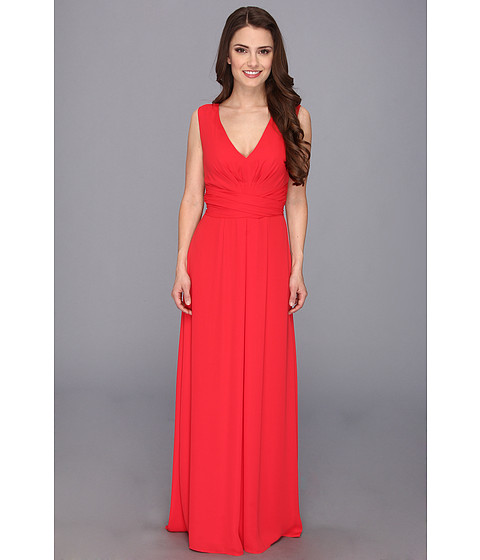 BCBGMAXAZRIA - Petite Norah Tie Waist Gown (Lipstick Red) Women's Dress