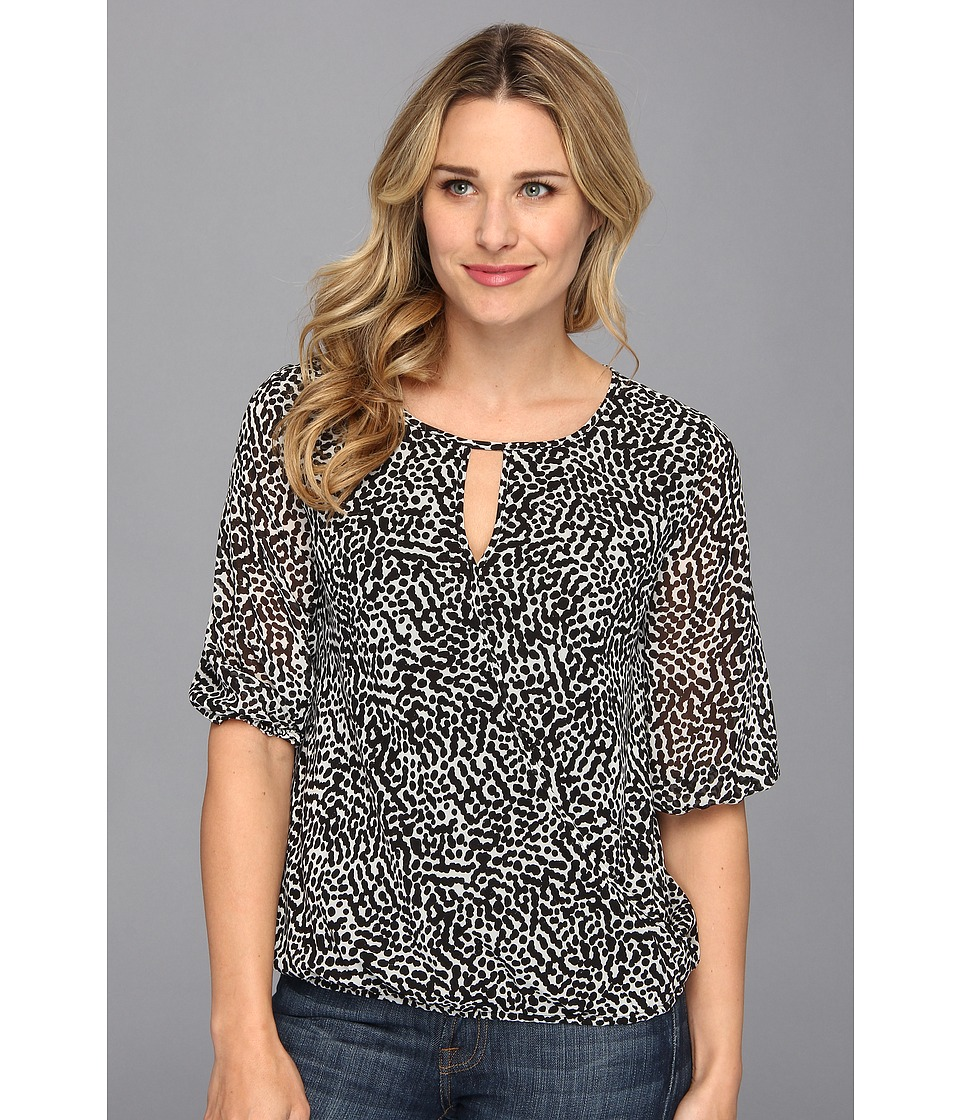 Vince Camuto - Elbow Sleeve Dot Terrain Wrap Front Blouse (Rich Black) Women