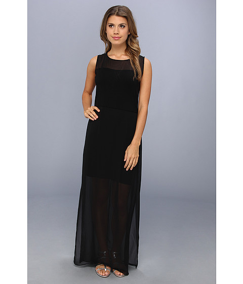 Vince Camuto - Chiffon Overlay Maxi Dress (Rich Black) Women's Dress