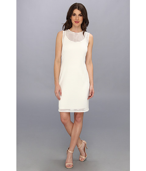 Vince Camuto - Sheer Stripe Dress (New Ivory) Women's Dress