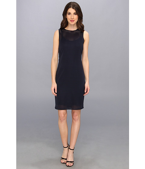 Vince Camuto - Sheer Stripe Dress (Blue Night) Women's Dress