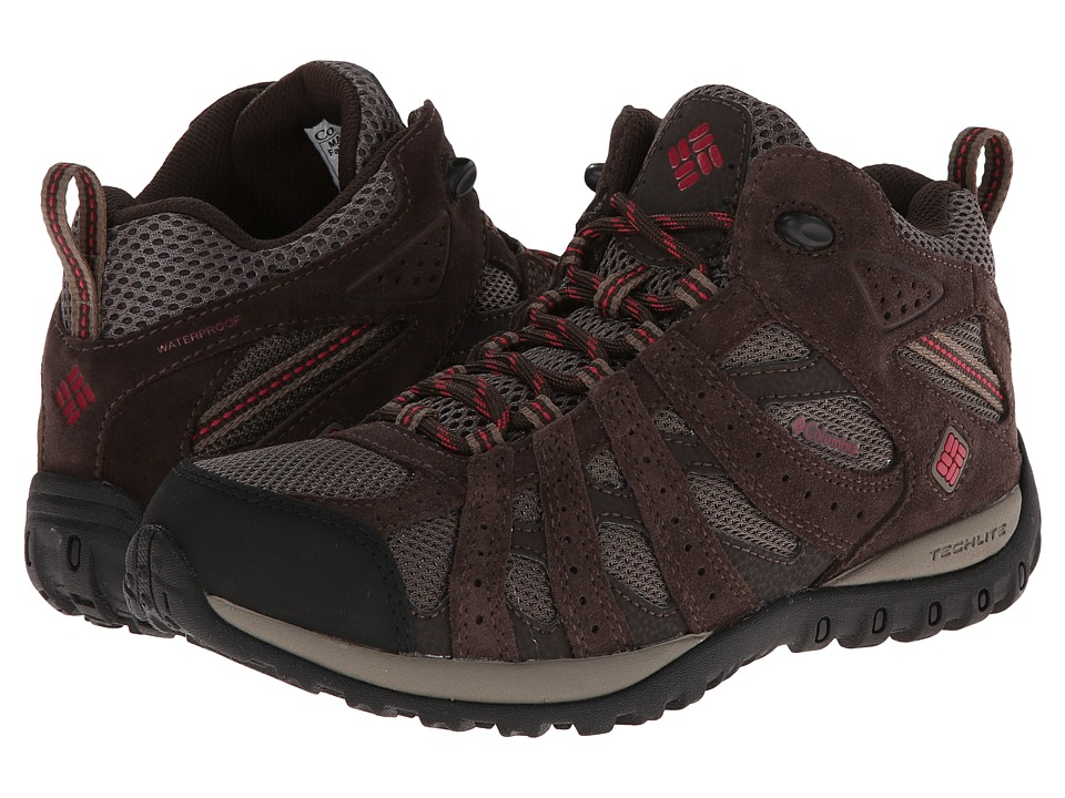 Columbia - Redmond Mid Waterproof (Mud/Red Orchid) Women