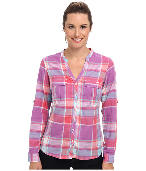 Columbia - Coral Springs Woven L/S Shirt (Blossom Pink Large Plaid) Women's Long Sleeve Button Up