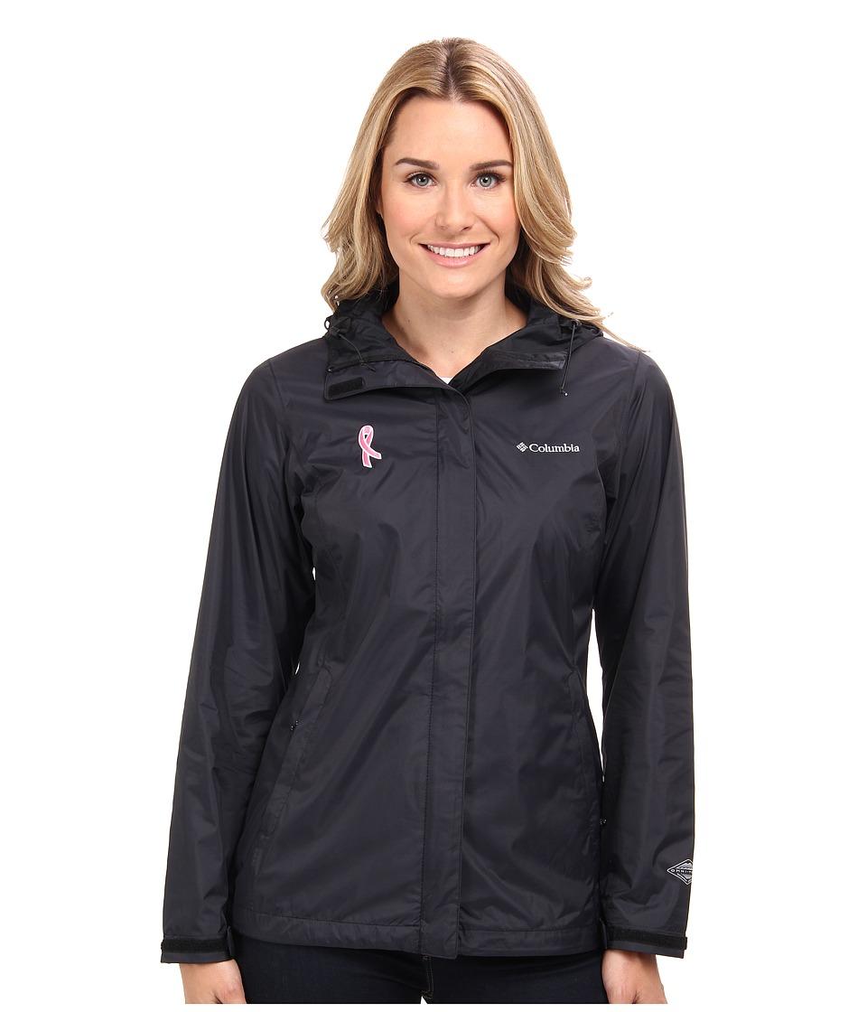 Columbia - Tested Tough in Pink Rain Jacket II (Black) Women's Coat