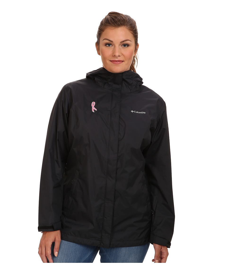 Columbia - Plus Size Tested Tough in Pink Rain Jacket II (Black) Women's Coat