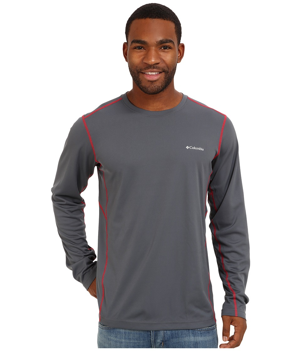 Columbia - Midweight II Long Sleeve Top (Graphite/Bright Red) Men's Clothing