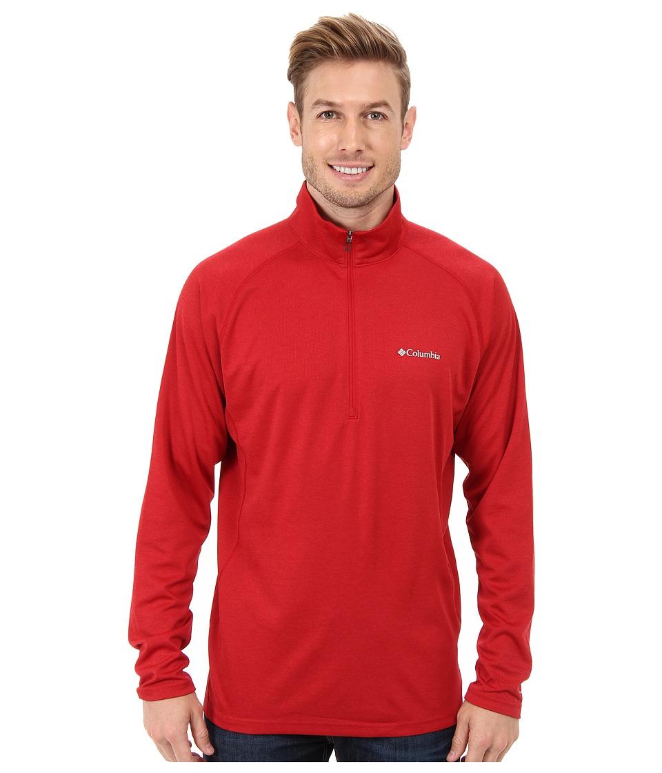 Columbia - Royce Peak Half-Zip Knit Shirt (Rocket/Bright Red Heather) Men