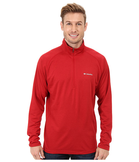 Columbia - Royce Peak Half-Zip Knit Shirt (Rocket/Bright Red Heather) Men's Long Sleeve Pullover