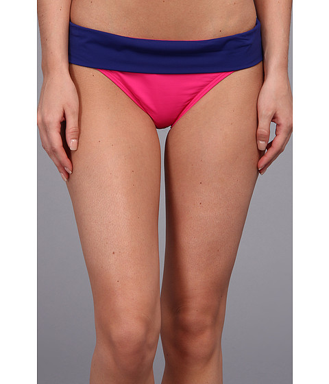 Shop Tommy Bahama online and buy Tommy Bahama Deck Piping Wide Band Hipster Bottom Minnie Pink/Offshore Blue Women's Swimwear swimwsuits online
