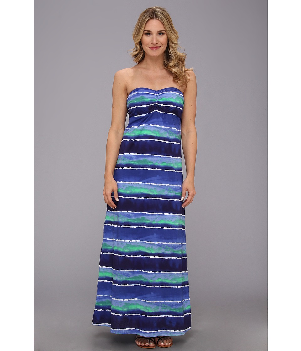 Tommy Bahama - Water Waves Long Bandeau Dress Cover-Up (Offshore Blue Multi) Women's Swimwear