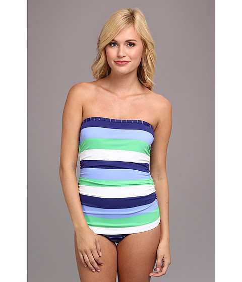 Tommy Bahama - Skipper Stripe Shirred Bandeau One-Piece (Offshore Blue/Echo Green/White) Women