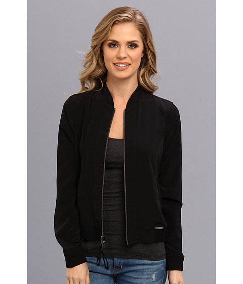 Calvin Klein Jeans - Soft Touch Poly Bomber Jacket (Black) Women's Coat