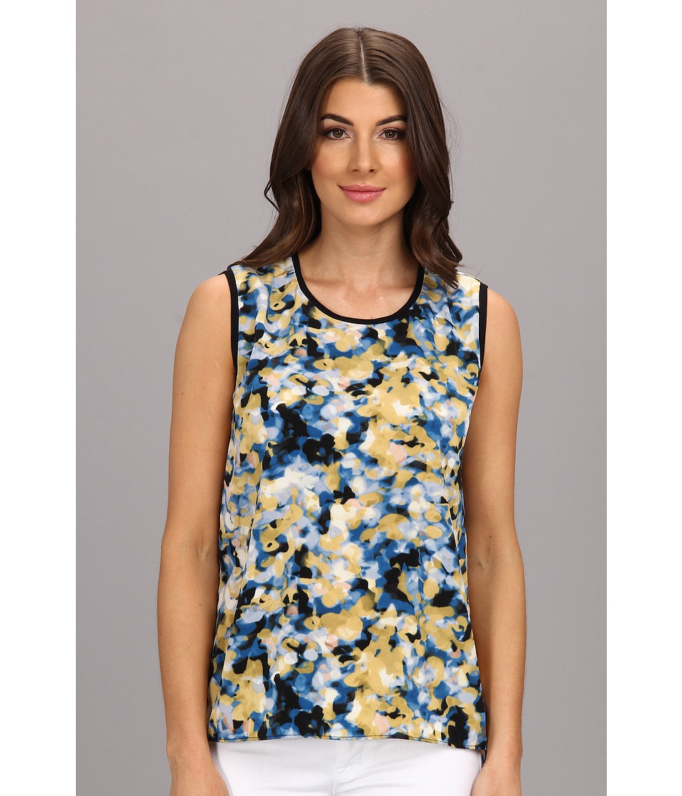 Calvin Klein Jeans - Printed High-Low Muscle Soft Touch Poly Tank (Midnight) Women's Sleeveless