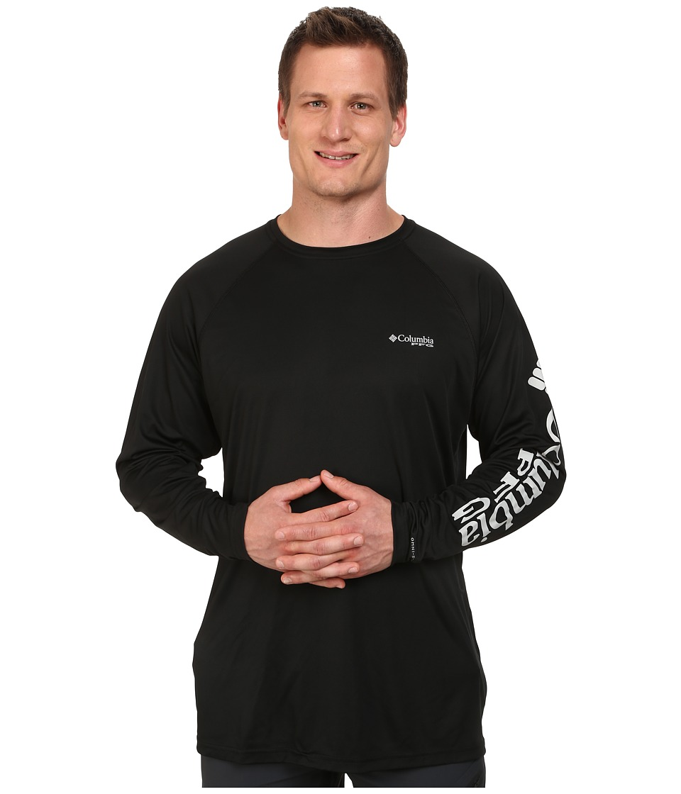 Columbia - Terminal Tackle L/S Shirt - Extended (Black/Cool Grey Logo) Men's Long Sleeve Pullover