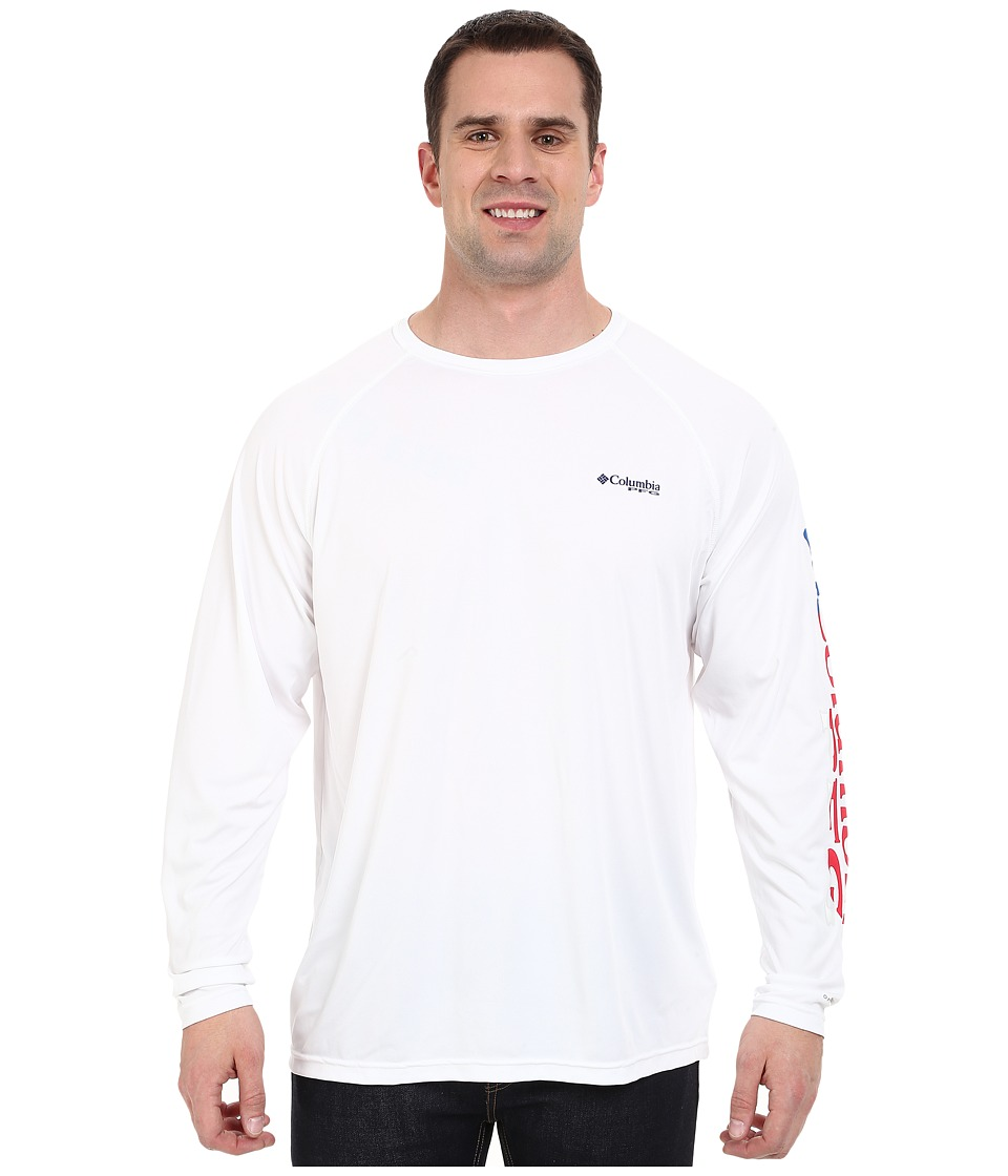 Columbia - Terminal Tackle L/S Shirt - Extended (White/Stars And Stripes Logo) Men's Long Sleeve Pullover