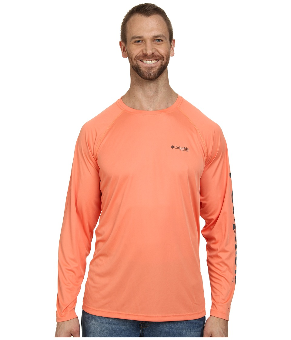 Columbia - Terminal Tackle L/S Shirt - Extended (Bright Peach/Grill Logo) Men's Long Sleeve Pullover