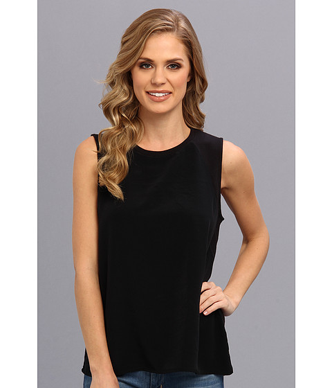 Calvin Klein Jeans - Woven Front Terry Tank (Black) Women's Sleeveless
