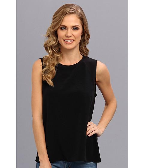 Calvin Klein Jeans - Woven Front Terry Tank (Black) Women's Sleeveless
