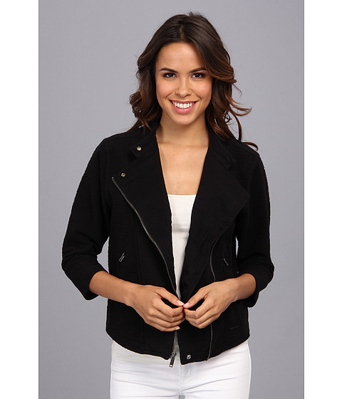 Calvin Klein Jeans - Textured Crop Moto Jacket (Black) Women's Coat
